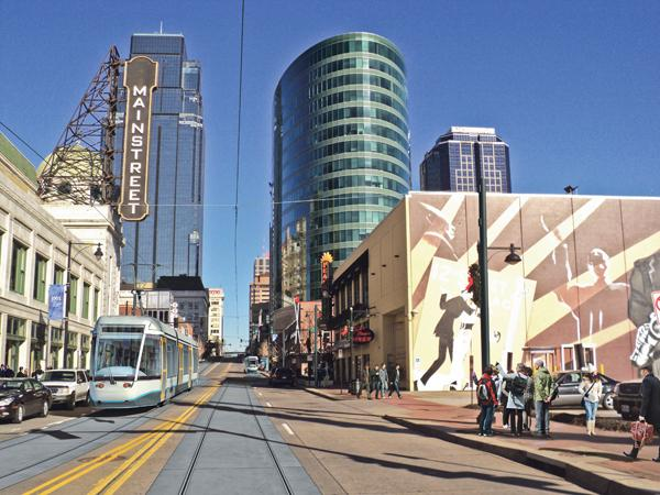 The streetcar line would run along Main Street from the River Market to Crown Center.