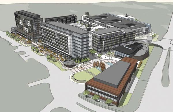 The developer of the Mission Gateway project, pictured in this earlier rendering, now has jettisoned plans for an aquarium and hotel because of financing hangups.
