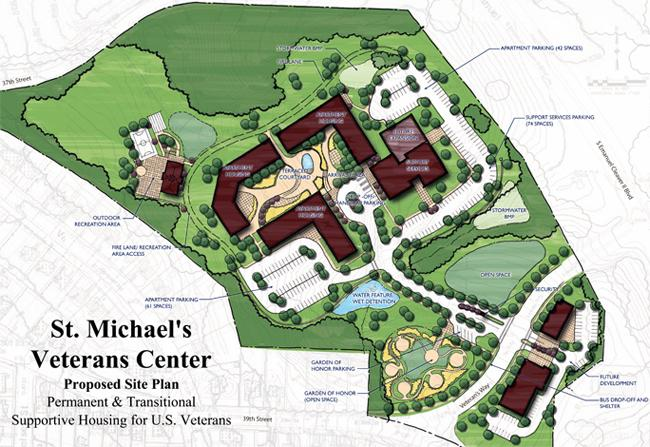 This is a proposed site plan for permanent and transitional supportive housing for veterans in Kansas City.