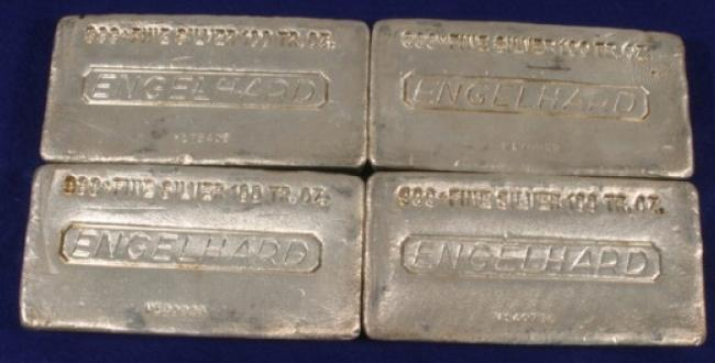 Four 100-troy-ounce fine silver bars were sold Oct. 18 for $12,600.
