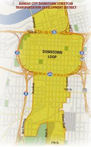 Map of the Kansas City Downtown Streetcar Transportation Development District.