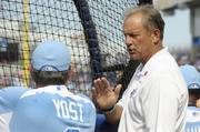 Former Kansas City Royals' star George Brett talks to team manager Ned Yost at the Home Run Derby.