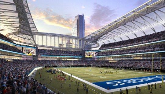 An interior shot showing the Gensler proposal for Farmers Field.