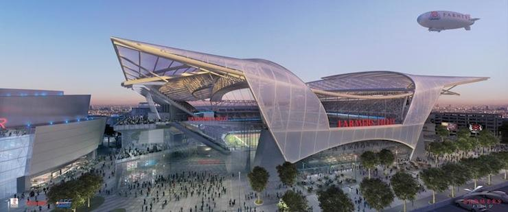 A new rendering shows the updated exterior for Farmers Field, AEG's proposed football stadium and events center in downtown Los Angeles.
