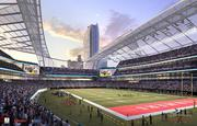 A new rendering shows the updated interior for Farmers Field, AEG's proposed football stadium and events center in downtown Los Angeles.