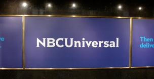 The new NBCUniversal logo is pictured inside NBC headquarters at 30 Rockefeller Plaza in New York.