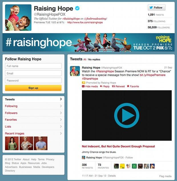 """Twitter is showing the season premiere of """"Raising Hope"""" before it airs on Fox television."""