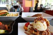 The waffle sundae topped with candied bacon is an instant favorite.