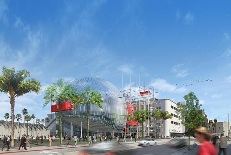 The David Geffen Theater, a giant domed auditorium that seats 1,000, will be built behind the Academy Museum of Motion Pictures.