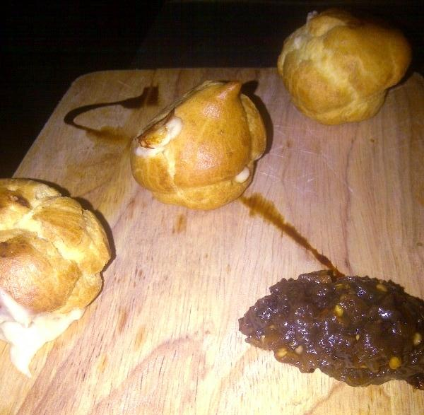 Code's gougeres: fondue-filled profiteroles served with an eggplant-and-date jam.