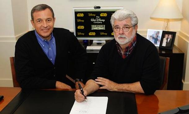 Disney has registered with the SEC the transfer of more then 37 million  shares of stock to George Lucas (right), pictured here with Mouse House  CEO Bob Iger signing the paperwork to sell Lucasfilm.