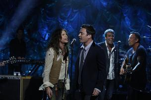 Steven Tyler, Jimmy Fallon, Mark Rivera, Bruce Springsteen in