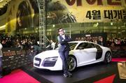 """Robert Downey Jr. channeled his inner Tony Stark at a red-carpet fan event for """"Iron Man 3"""" in Seoul last week."""