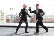 """Ben Kingsley and Robert Downey Jr. mugged for the cameras in Moscow during  the Russian leg of the world tour for """"Iron Man 3"""" on April 10."""