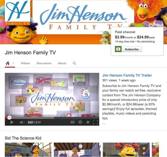 Jim Henson is one of 30 partners to join YouTube's subscription-channel initiative.