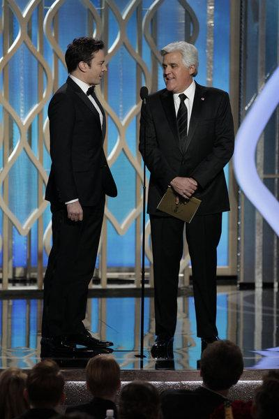 """Jimmy Fallon, pictured here with Jay Leno at the Golden Globe Awards, will reportedly take over """"The Tonight Show"""" next year."""