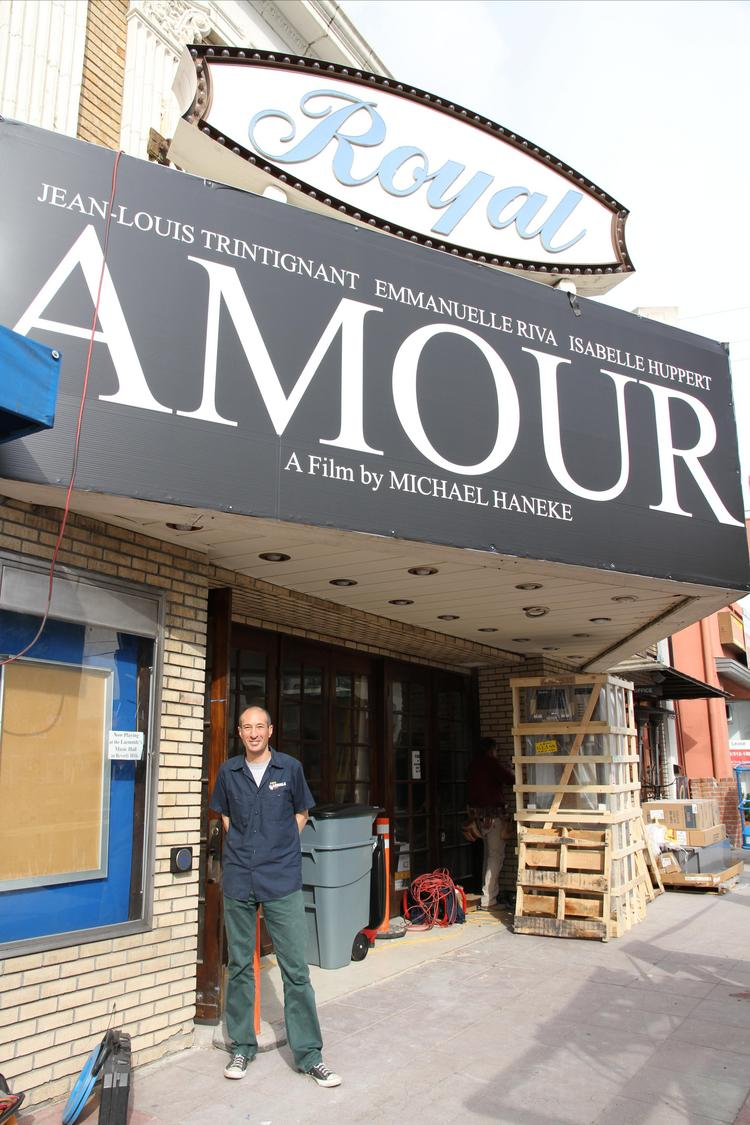 "Laemmle Theatres president Greg Laemmle oversees last-minute work on the Royal in Santa Monica, which will reopen this week after a four-month renovation with an exclusive Los Angeles engagement of ""Amour."""