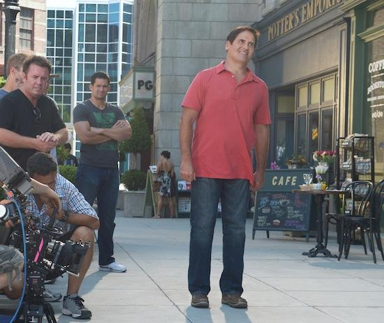 Mark Cuban films a commercial for the new Relaxed Fit from Skechers footwear collection.