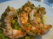 Wood-oven roasted prawns with sweet pea pesto and marjoram