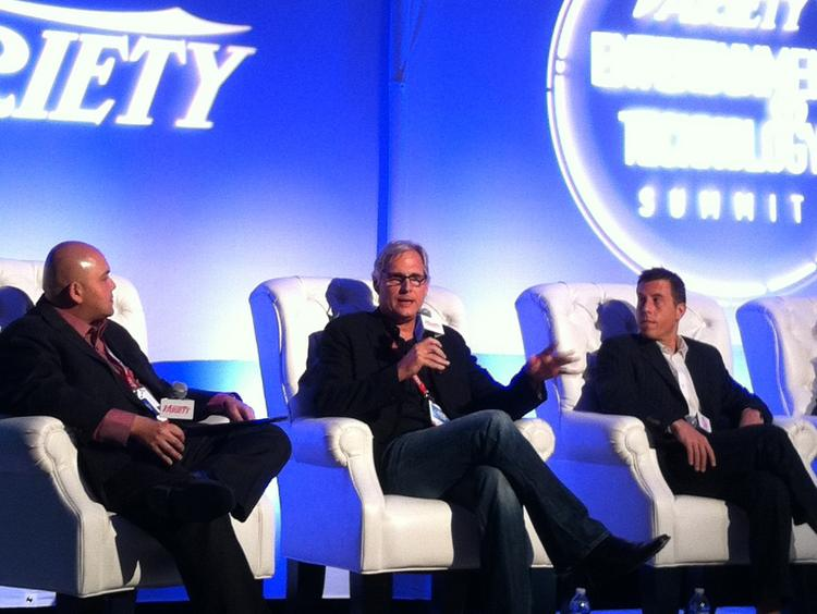 """Keyvan Peymani (left), head of digital at ICM Partners, moderated a  panel discussion on """"Distribution Disrupt or Opportunity?"""" at Variety's  Entertainment & Technology Summit, during which Sony chief digital  officer Mitch Singer and Newvue director of marketing Josh Stutt  discussed the benefits and challenges of digital media."""