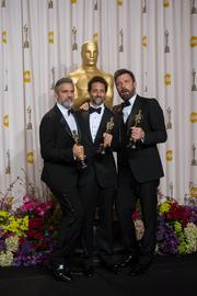"George Clooney, Grant Heslov and Ben Affleck celebrate ""Argo's"" win for Best Picture."