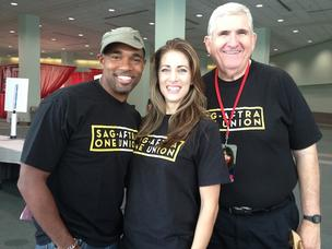 Pictured are SAG-AFTRA members and actors Jason George, Tara Radcliffe and Ron Morgan.