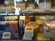 Shoop's also serves a a grocery. Seen here is an assortment of imported cheeses.