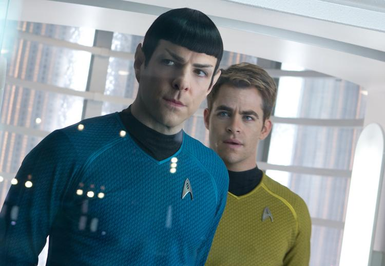 Zachary Quinto and Chris Pine star as Spock and Kirk in Paramount Pictures' Star Trek Into Darkness.