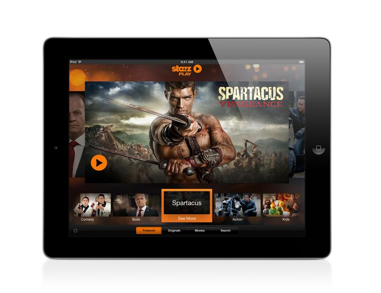 "The newly launched Starz Play homepage screen brings ""Spartacus"" to life  on iPad for subscribers."