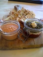 Starters on the menu include rustic jars, which highlight hummus, sundried tomato, pesto and goat cheese.