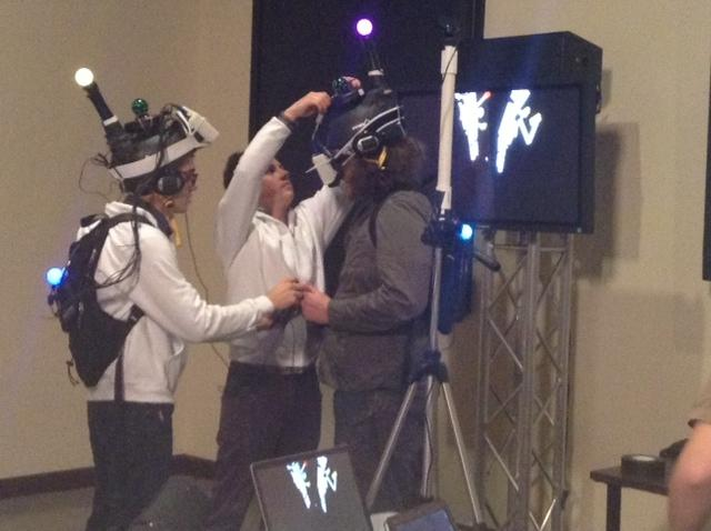 USC School of Cinematic Arts students working with virtual reality gaming.