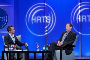 """The Hollywood Radio and Television Society presented """"A Conversation with Robert Iger,"""" moderated byBrian Grazer, left, on Wednesday at the Beverly Hilton Hotel."""