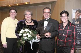 Bradley Broecker and his wife, Carla Sue Broecker, are shown with daughters, Amy Kessler, left, and Leslie Broecker, right, at the 60th anniversary celebration of the Fund for the Arts. Bradley Broecker was given the Distinguished Arts Leader Award.