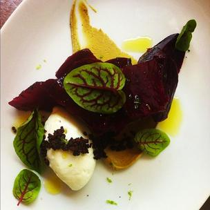 Beets, capriole, pistacio, cocoa and lime at Proof on Main.