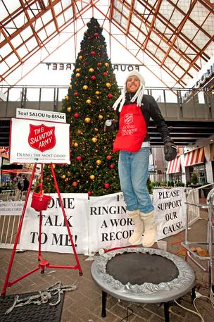 Ryan Althaus is at Fourth Street Live trying to set the record for bell ringing for the Salvation Army.