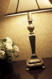 This lamp adds warm light to the newly renovated room.