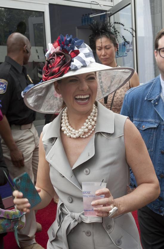 Actress Debra Messing sported the Grey Goose Cherry Noir Derby hat as she arrived at Churchill Downs on Derby Day.