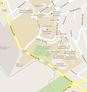 This Google map shows the area around the Bellarmine University campus.