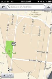This Apple iOS 6 map shows the area around U of L's Belknap campus.