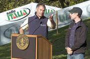 Bruce Fina, executive director of the US Gran Prix and course designer for the new cyclocross venue, spoke at the ribbon cutting on Thursday as Tim Johnson, the current US National Cyclocross Champion, looked on.