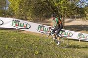 An unidentified cyclist tried out the new cyclocross course at Eva Bandman Park shortly after it opened on Thursday