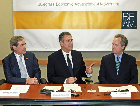 U.S. Rep. John Yarmuth, D-Louisville, left, sat with U.S. Under Secretary for International Trade Francisco Sánchez and Louisville Mayor Greg Fischer.