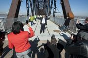 Mayor Greg Fischer posed for a picture on the Big Four Bridge.