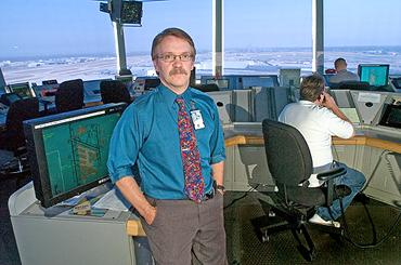David Senechal, air traffic manager at Louisville International Airport, is shown in the airport's control tower.