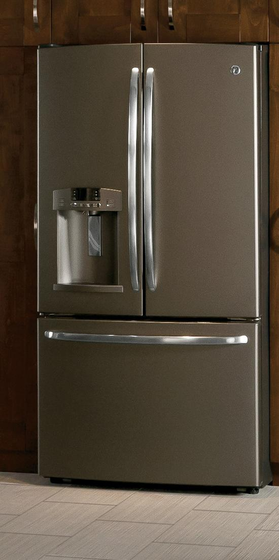 "GE's new, slate-colored refrigerators will be featured on the ""Rachael Ray Show."""