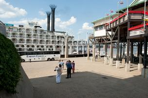 The newly renovated American Queen was docked in Louisville Wednesday.