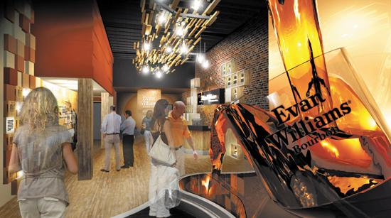 Heaven Hill Distilleries plans a $9.5 million renovation of its 528 W. Main St. office building to create the Evan Williams Bourbon Experience. The building would become an artisan distillery and tourist attraction. The concept for the lobby is shown in this illustration.