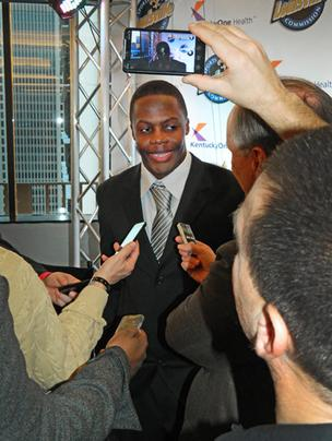 University of Louisville quarterback Teddy Bridgewater was one of the more popular guests at the Paul Hornung Award banquet. He was recognized with the Howard Schnellenberger MVP Award.