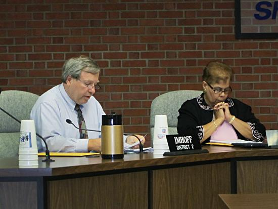 JCPS board members Steve Imhoff and Diane Porter are shown at Wednesday's meeting.