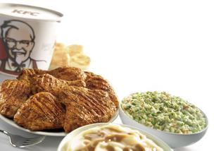 Lower calories menu items like KFC's grilled chicken are fueling sales at many restaurant chains, according to a new report by The Hudson Institute.